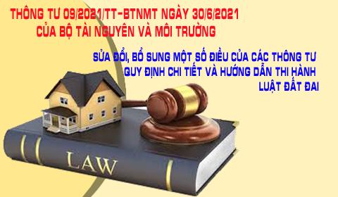 Thông tư 09/2021/TT-BTNMT hướng dẫn Luật đất đai